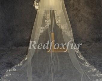 Wedding Veil, Bridal Veil, cathedral veil, Alencon Lace veil 3 meters veil, white veil, ivory veil
