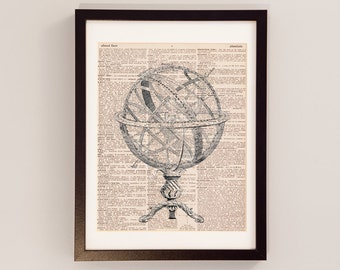 Vintage Armillary Sphere Print - Spherical Astrolabe Art - Print on Vintage Dictionary Paper - Gift for Astronomer - Space Print