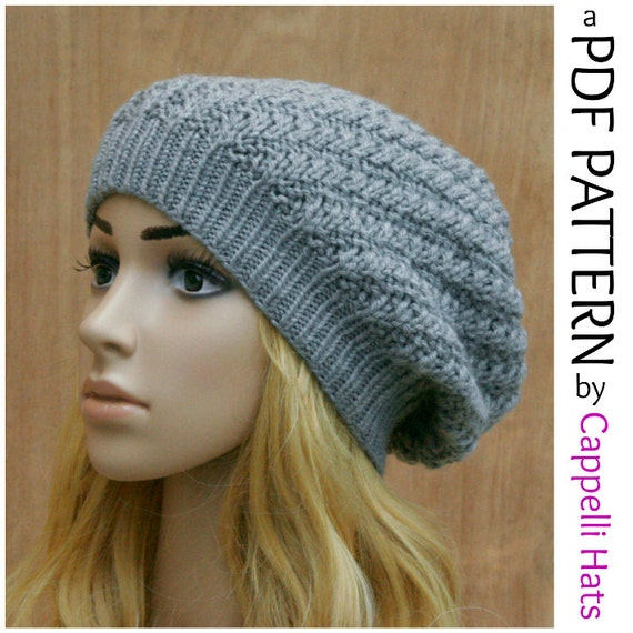 Baggy Hat Knitting Pattern : Womens Slouchy Baggy Oversized Hat PDF Knitting by CappelliHats