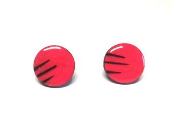 Coral earrings, Wood stud earrings. Round wood earrings, Wood studs, Wood earrings, Salmon round earrings, wood burned studs