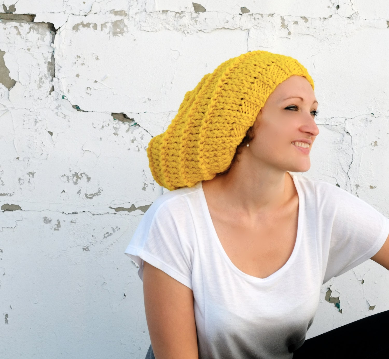 Knitting Pattern For Ladies Chunky Hat : PATTERN Slouchy Hat / Knit Women Chunky Beanie by Accessodium
