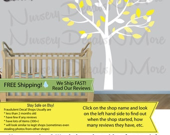 White Tree Wall Decals for Baby Nursery, Wall Decal, White Tree Stickers (Yellow Gray) SmTO