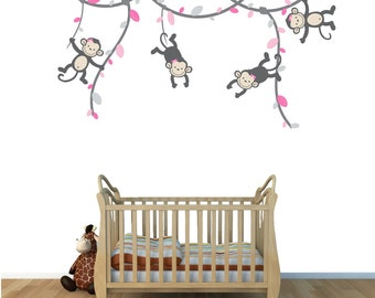 Monkey Vine Decals, Monkeys on Vines, Monkey Wall Stickers, (GrayPink), (V76_MB91_MF89_78_47_48), MVD