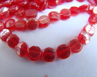 Antique Victorian red glass nailhead beads with AB finish - 4mm - 100 pieces (007)