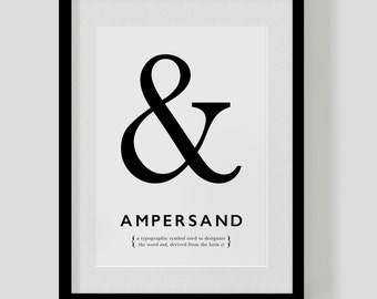 AMPERSAND poster print – & – custom colours – designer print – typographic poster – FREE SHIPPING