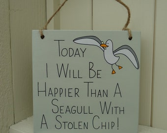 Handmade 'Seagull with a stolen chip' wooden plaque