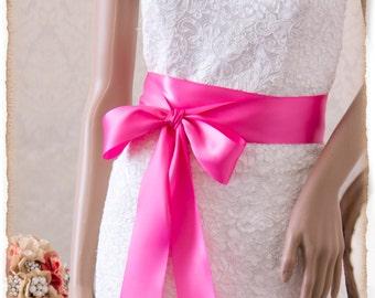 Bridal Sash, HOT PINK Satin Ribbon Sash, Wedding Sash, Satin Bridal Sash, Bridal Belt, Hot Pink Sash