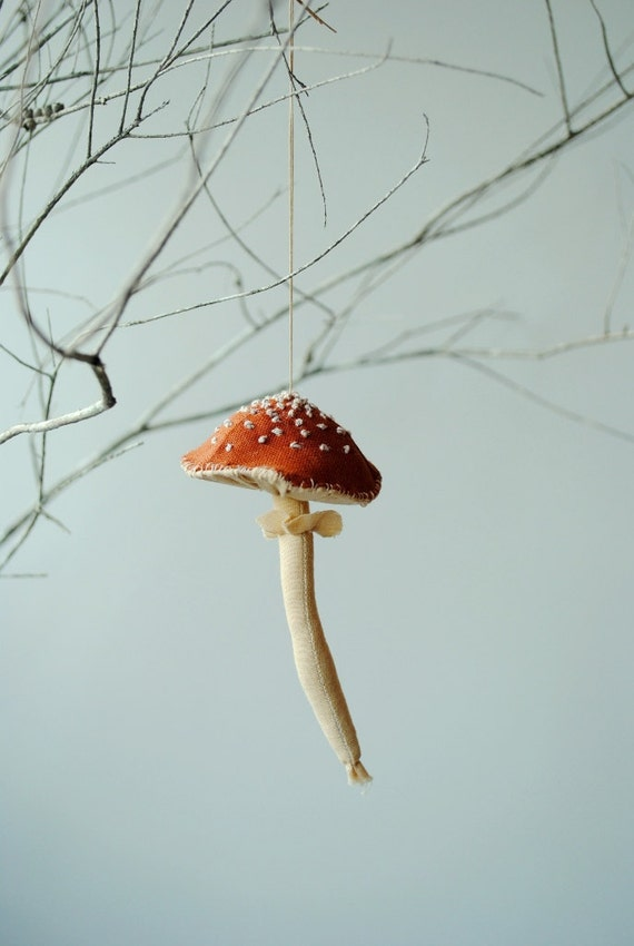 image toadstool ornament hanging decoration red cream amanita muscaria willowynn