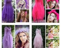 New Adult  Fairy  Dress ~ Halloween Costume ~Tulle Headpiece ~ Theatre ~ Renaissance ~Bridal ~ Formal