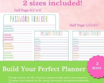 Printable Password Tracker