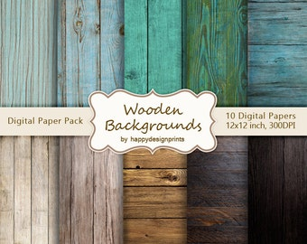 "Old Wood Vintage Wooden Board Digital Paper Pack of 10, 300 dpi, 12""x12"" Instant Download Pattern Paper Scrapbooking, Invites, Cards JPG"
