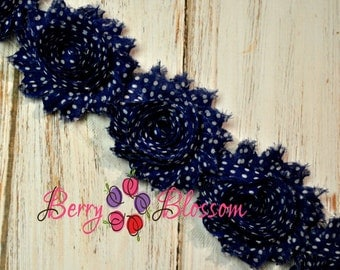 "2.5"" Navy Blue White Dot shabby flower trim - frayed chiffon - rose flowers by the yard - print polka dots shabby"