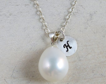Sterling silver pearl necklace, wedding necklace,customized bridesmaid gift,personalized wedding necklace, bridesmaid necklace,