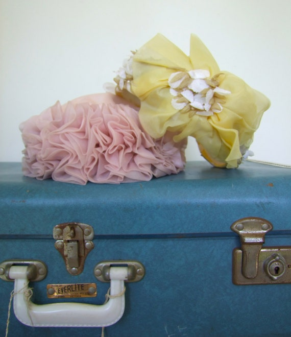Pair of Vintage Pill Box Wedding Hats - 1960's Floral, Chiffon