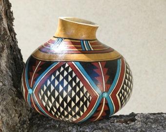 Southwestern Hand- Painted Gourd Pot #625 Geometric