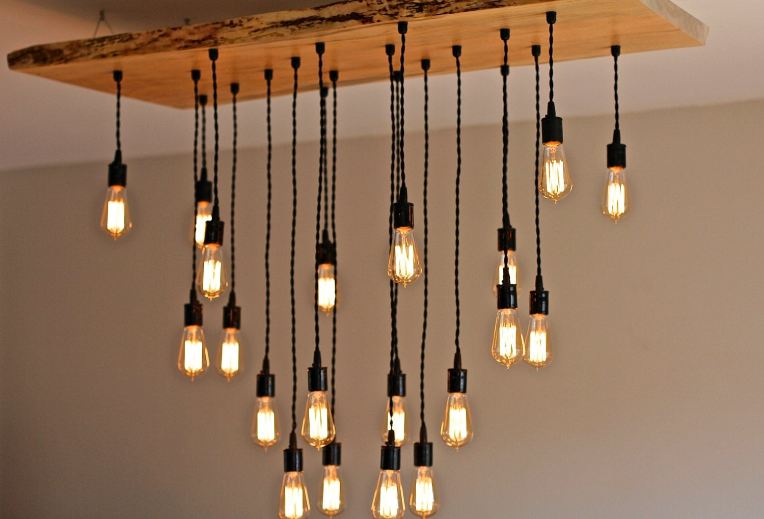 Large live edge maple chandelier with edison bulbs