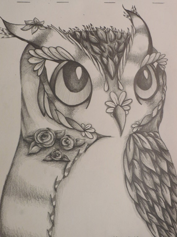 "Items similar to Beautiful Flower Owl - 8x10"" Original ... Unique Drawings In Pencil"