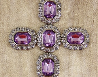 Light Purple Amethyst Rhinestone Buttons -10 Acrylic Buttons Surrounded by clear Rhinestones - 25mm