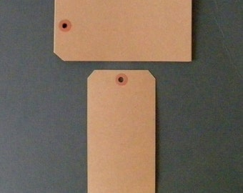 "50, Extra Large Kraft Tags, Parcel Tags, Hang Tags, Kraft Reinforced Holes, Shipping Tag, Gift wrapping, Shipping Tag, 6 1/4"" x 3 1/8"""
