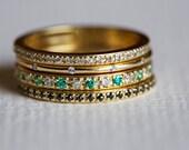 Stacking Engagement Ring, Diamond Stacking Rings, micropave Ring, Diamond Engagement Ring, Wedding Ring Set, Stacking diamond rings