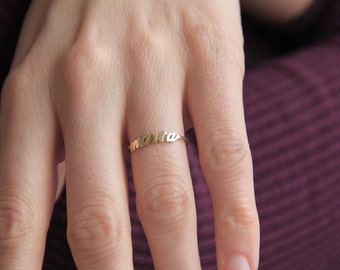 Two Name Ring 14k Gold Mother Sister Best Friends