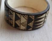 Wooden Bangle, Geometric Pyrography Design