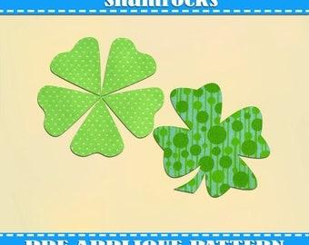 Shamrocks Applique Pattern Template Four Leaf Clover Day PDF Download ...