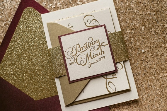 Wine Gold Letterpress Glitter Fall Wedding Invitation Gold