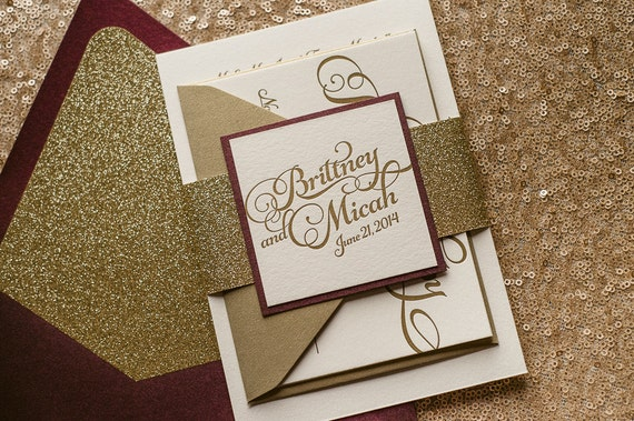 Wine & Gold Fall Wedding Invitation, Gold Glitter Wedding Invite, Calligraphy Invitation, Burgundy Invitation - Sample Set