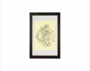 Science art - Antikythera Mechanism schematic poster educational decoration idea for classroom on paper or canvas up to A0 size