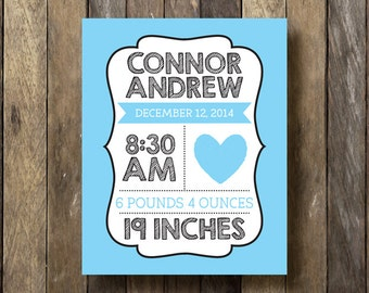 Baby Stats Printable - Blue Nursery Art - Birth Stats Printable - Baby Boy Nursery Art - Blue Nursery Decor - Baby Boy Birth Stats