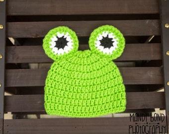 Crochet Baby Frog Hat Baby Frog Baby Boy Baby girl Frog Hat Baby Frog Green Baby Frog