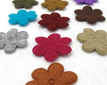 Your Choice of Color(s)|Random Set of 50 Pieces Felt Flower Shape Die Cut|Polyester Felt|Scrapbook|Party Confetti|Craft Supply