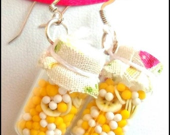 Earrings Kawaii, earrings banana, baby food jars, yellow Banana, bottles