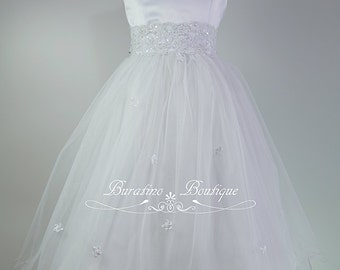 Flower Girl Dress/ Communion White, Ivory, Pink, Special Occasion  Girls Dress,  (Ets0141w)