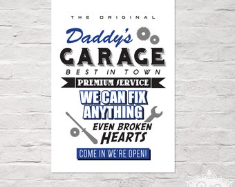 """cute as a button POSTER """"Daddy's GARAGE"""" DinA 4 typographic print"""