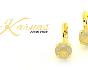 SAND OPAL 8mm Leverback Earrings Swarovski Elements *Pick Your Finish *Karnas Design Studio *Free Shipping*