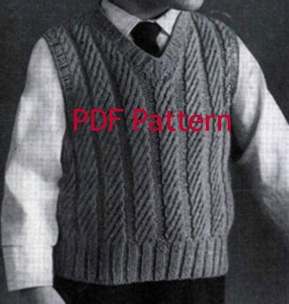 Little Boys Knit Vest Pattern Classic Vintage
