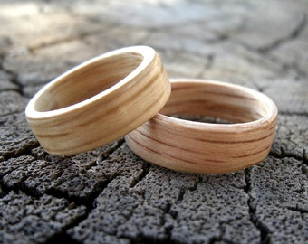 Wood Ring Set, White Oak Ring, Red Oak Ring, Bentwood Rings, Custom Wedding Bands, Handmade Wooden Rings