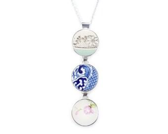 Triple Pendant, Antique Porcelain Pendant, Broken China Pendant, Unique fine Jewelry