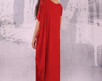 Maxi Dress, Red Dress, Extravagant Dress, Loose Dress, Long Dress, Asymmetric dress, Plus size Dress, Oversize Dress, urbanmood - UM-038-VL