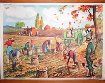 A FOOTBALL Match - Autumn works - Vintage French school poster. Double sided .1950's. Original.