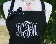"3 pocket Caviar Black + Custom Super White ""Monogram"" font apron with bow (24""L x 28""W) Teacher, graduation, Chef, Picnic, Kitchen remodel"