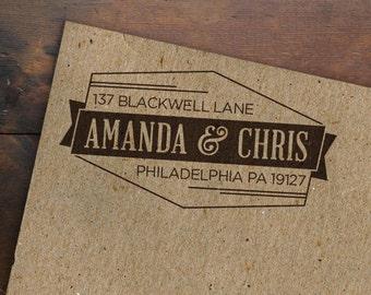 Personalized Address Stamp • Geometric Rubber Stamp • Custom Return Address • Modern Wooden Handle