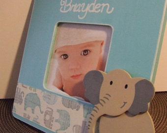 Personalized frames Baby frame Baby boy frame Nursery Decor Baby Shower GIFT Frame with name Blue elephant frame Picture Frame Baby Gift