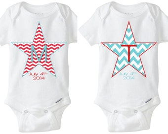 4th of July Fourth of July Stars Fraternal or Identical Twins / Twin Girls & Boys Onesie Shirt - Red, White and Blue Preemie Size Available