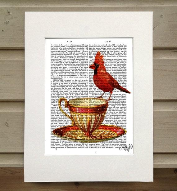 red cardinal bird teacup tea cup print kitchen print kitchen wall