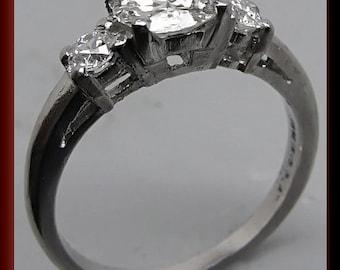 Antique Vintage 1940's Retro Platinum Diamond Engagement Ring