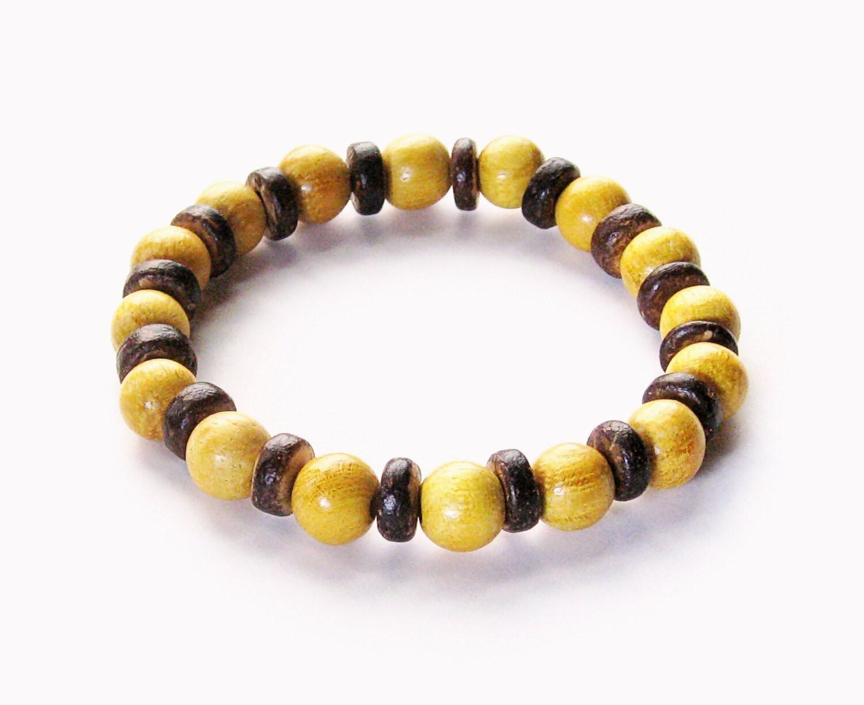 wood bead stretch bracelet yellow nangka wood by