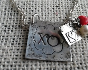 Personalized Sterling silver hand stamped necklace